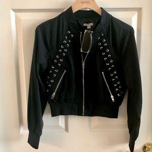 Black cropped bomber jacket size small NWT
